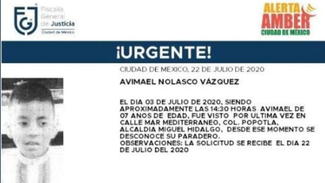 Activan Alerta Amber para localizar a Avimael Nolasco Vázquez
