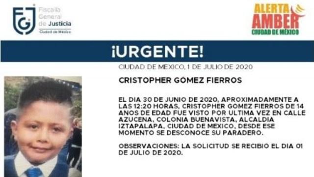 Activan Alerta Amber para localizar a Christopher Gómez Fierros.