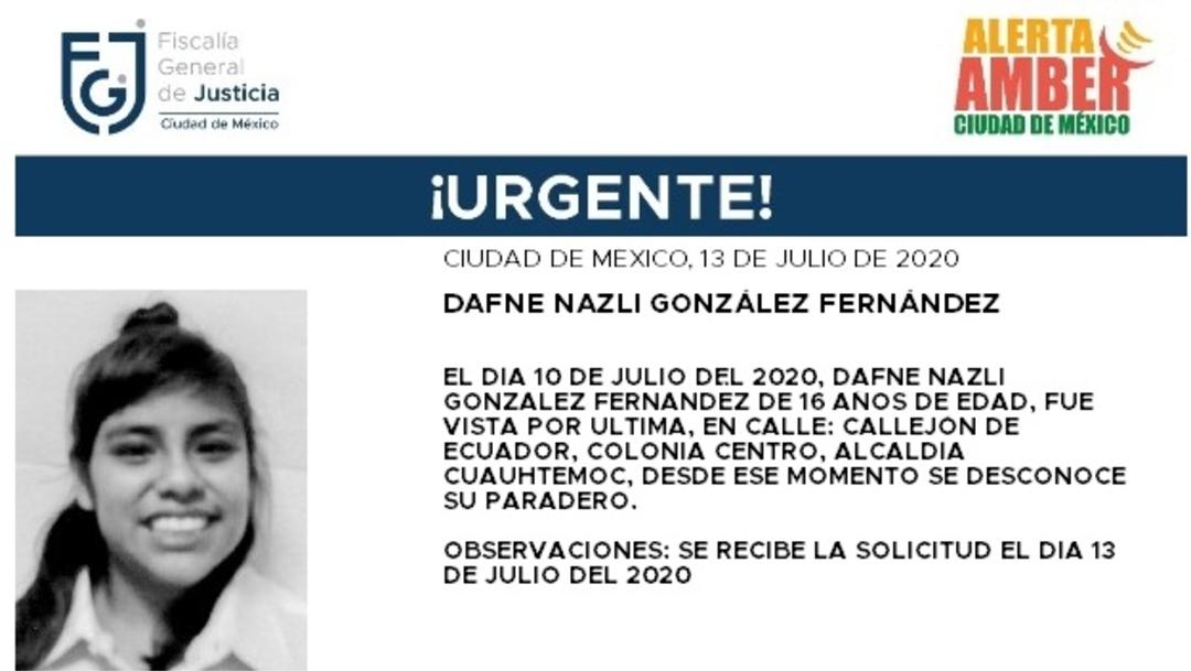 Activan Alerta Amber para localizar a Dafne Nazli González Fernández