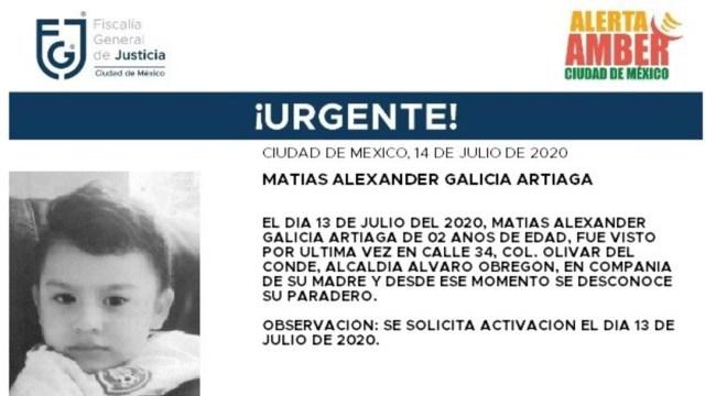 Activan Alerta Amber para localizar a Matías Alexander Galicia Artiaga