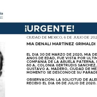 Activan Alerta Amber para localizar a Mía Denali Martínez Grimaldi