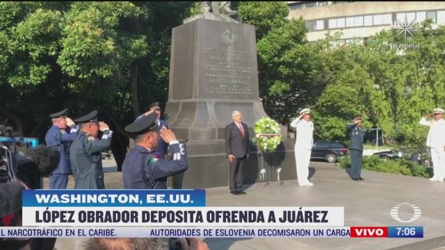 amlo coloca ofrenda floral en el monumento a benito juarez en washington