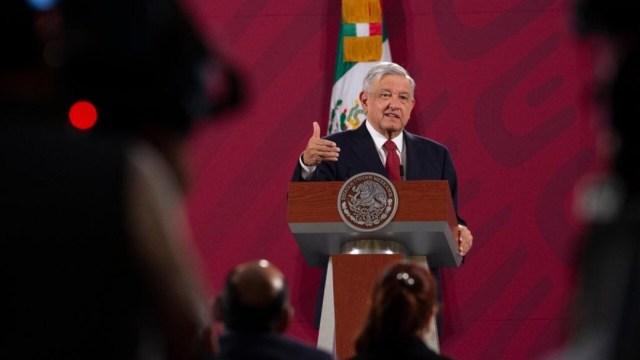 El presidente Andrés Manuel López Obrador durante su conferencia matutina en Palacio Nacional