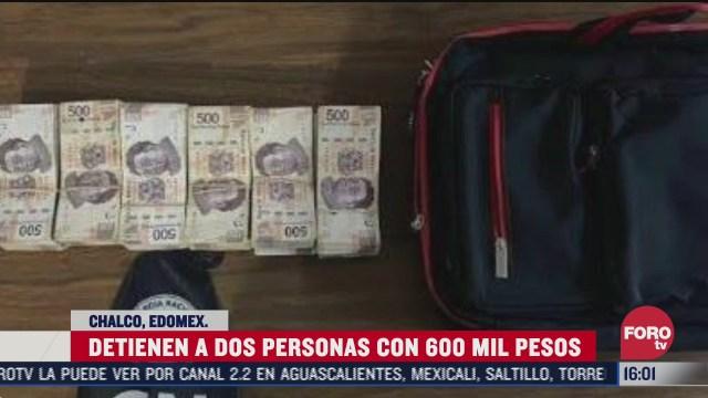 FOTO: 5 de julio 2020,arrestan a dos en posesion de 600 mil pesos en chalco