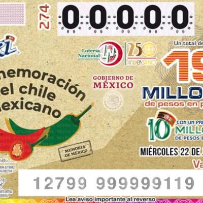 Lotería Nacional lanza cachito conmemorativo del chile mexicano