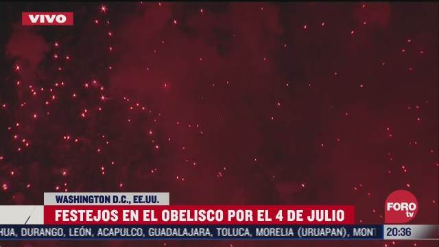 FOTO: 4 de julio 2020, celebran con fuegos artificiales el dia de la independencia de estados unidos en washington
