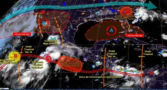 Mapa que muestra los sistemas meteorológicos del miércoles 8 de julio. (Foto: https://smn.conagua.gob.mx/)