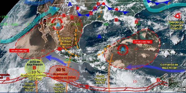 Mapa que muestra los sistemas meteorológicos del domingo 5 de julio. (Foto: https://smn.conagua.gob.mx/)