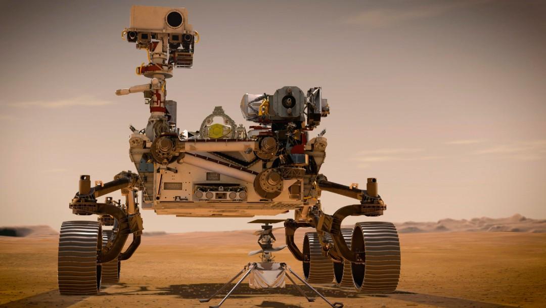 Dibujo del vehículo espacial rover Perseverance, de la NASA