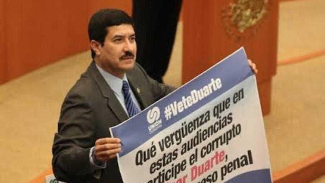 Javier Corral en 2015 durante comparecencia de Cesar Duarte