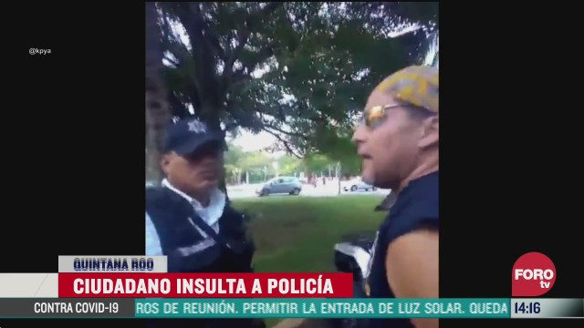 FOTO: 4 de julio 2020, exhiben a hombre por insultar a policia que le impidio entrar a espacio restringido