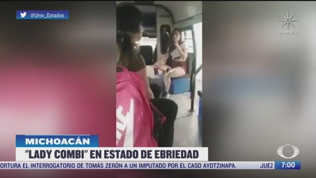 lady combi golpea a pasajera en transporte publico en michoacan