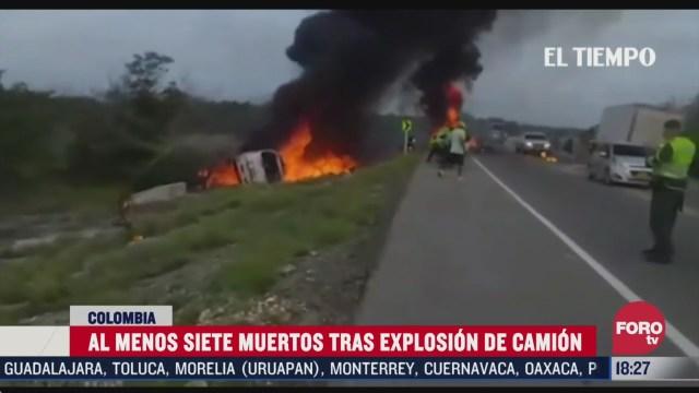 mueren 7 personas tras explosion de camion con gasolina en colombia