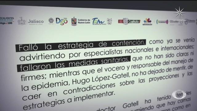 gobernadores piden la renuncia de Hugo López-Gatell por mal manejo de la pandemia del coronavirus