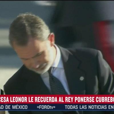Princesa Leonor pide a su padre, el rey de España, usar cubrebocas