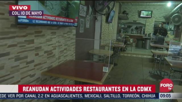 reanudan actividades en restaurantes de cdmx
