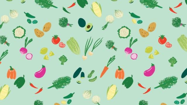 reto viral frutas y verduras, ilustración.