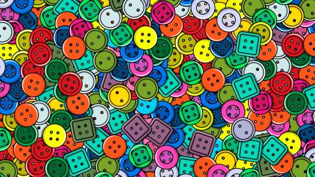 Reto visual encuentra los 5 botones dorados, ilustración