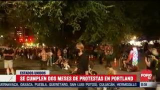 se cumplen dos meses de protestas en portland estados unidos