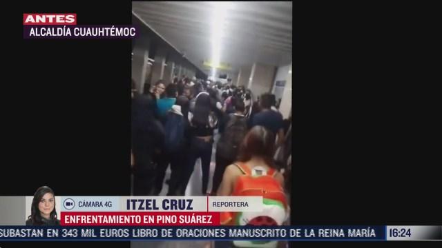 se registra rina dentro del metro pino suarez en cdmx entre policias y comerciantes
