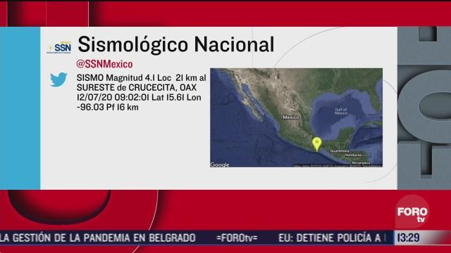 FOTO: 12 de julio 2020, se registra sismo en oaxaca de magnitud