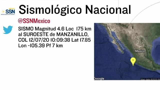 Se registra sismo de magnitud 4.6 al suroeste de Manzanillo, Colima