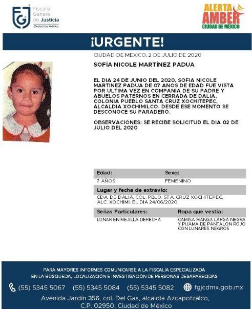 Activan Alerta Amber para localizar a Sofía Nicole Martínez Padua. (Foto: @FiscaliaCDMX)