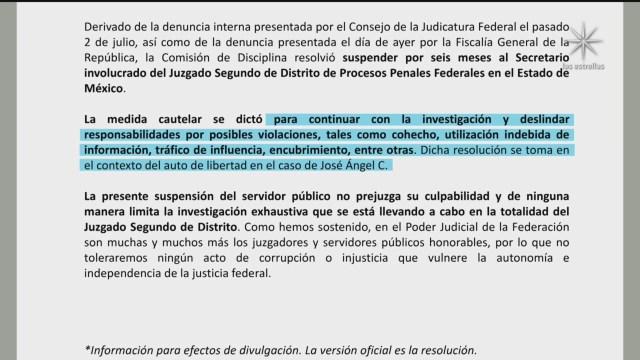 FOTO: 7 de julio 2020, suspenden a secretario del juzgado vinculado a la liberacion de el mochomo