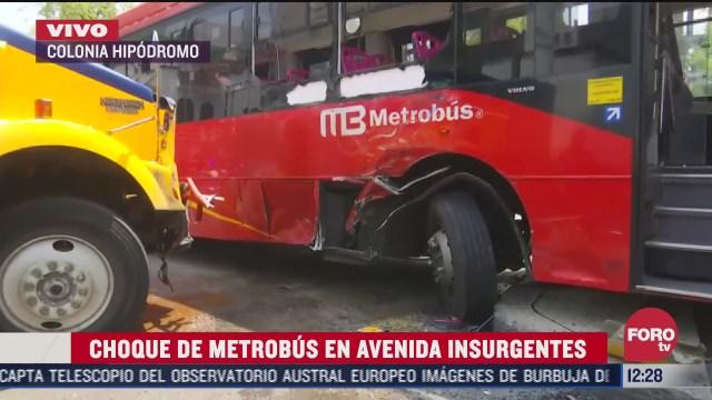 trailer choca con metrobus en la colonia hipodromo cdmx hay seis lesionados