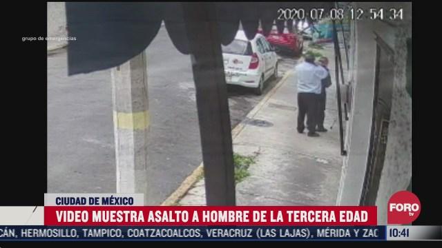 video muestra asalto a persona de la tercera edad en la cdmx