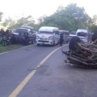 Volcadura de camioneta de transporte público deja 5 muertos en Motozintla, Chiapas
