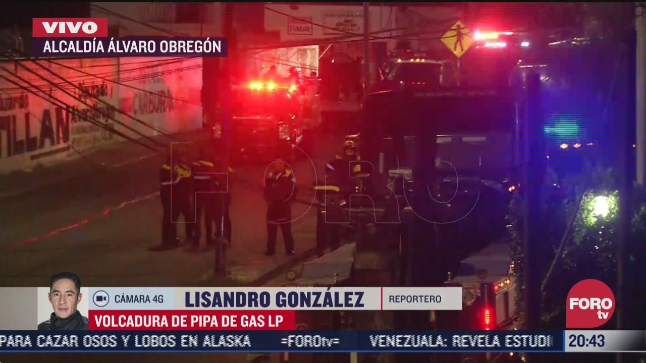FOTO: 7 de julio 2020, vuelca pipa de gas lp en la alcaldia alvaro obregon