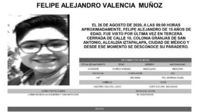 Activan Alerta Amber para localizar a Felipe Alejandro Valencia Muñoz