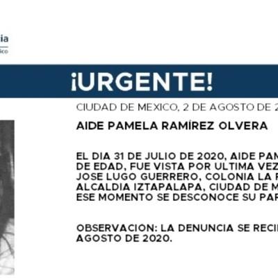 Activan Alerta Amber para localizar a Aidé Pamela Ramírez Olvera