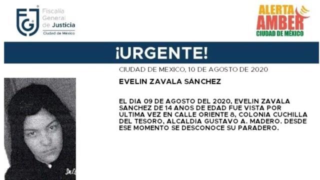 Activan Alerta Amber para localizar a Evelin Zavala Sánchez