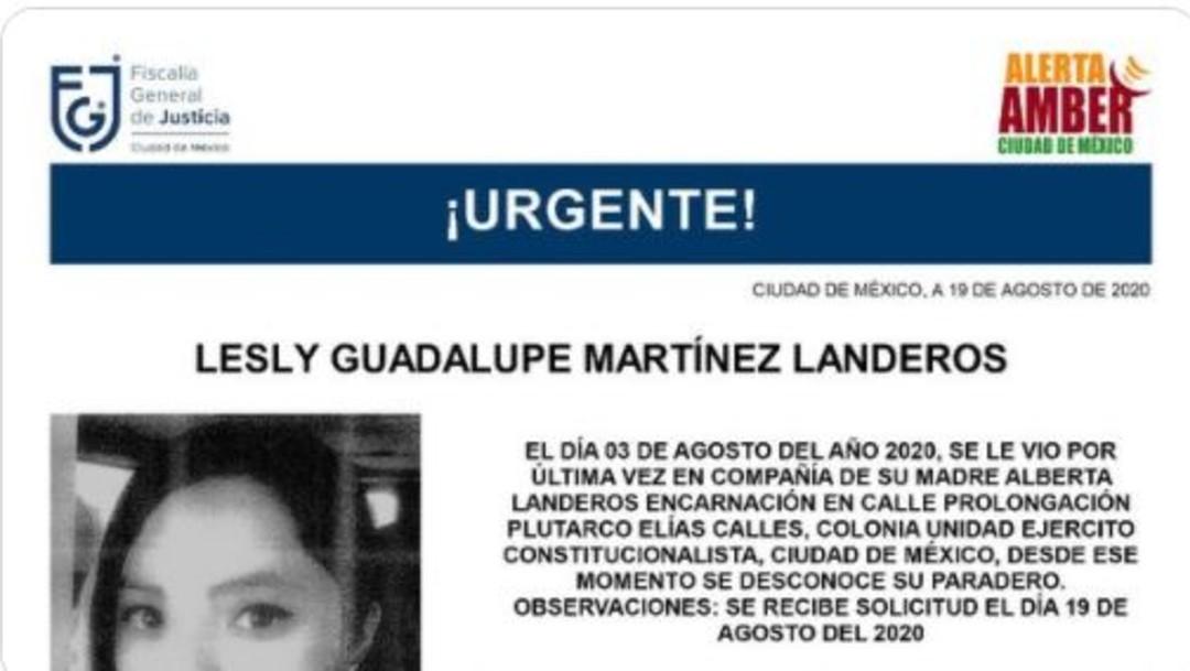 Alerta Amber Lesly Guadalupe Martínez Landeros