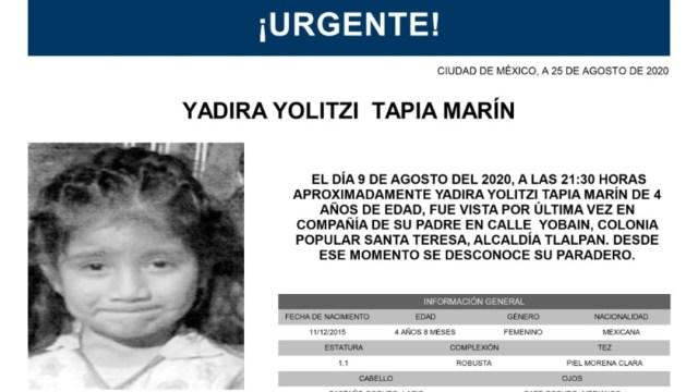 Activan Alerta Amber para localizar a Yadira Yolitzi Tapia Marín