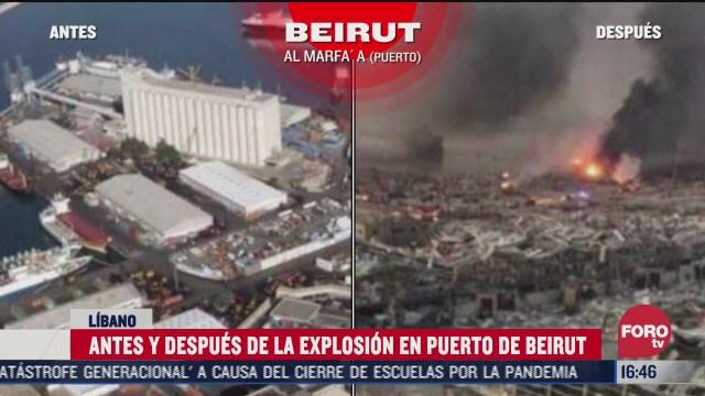 antes y despues de la zona de las explosiones en beirut
