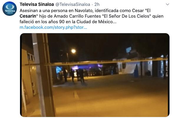 Asesinan a 'El Cesarín', presunto hijo de 'El Señor de los Cielos'