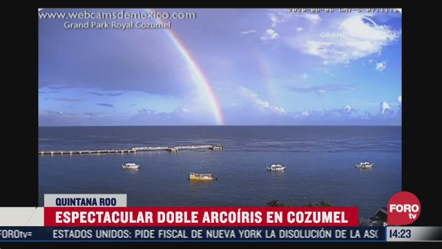 captan espectacular doble arcoiris en cozumel