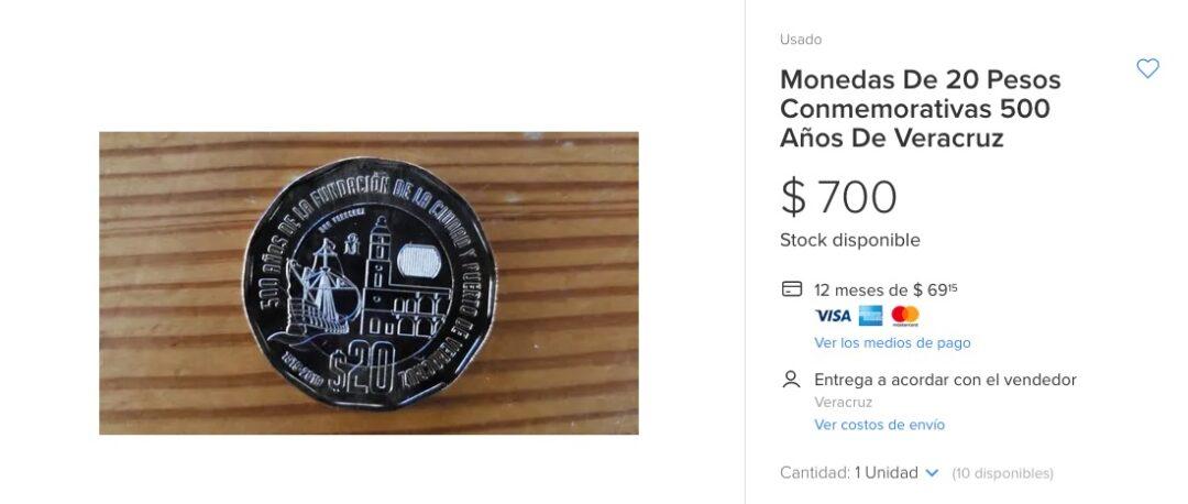 Moneda de 20 pesos sobre Veracruz se vende hasta en 700