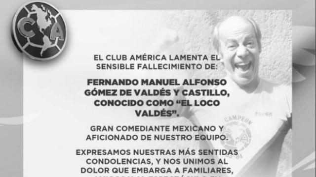 El Club América lamentó el fallecimiento de Manuel 'El Loco Valdés'