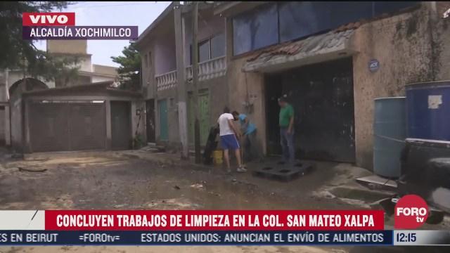 concluyen los trabajos de limpieza en xochimilco tras desbordamiento del rio santiago