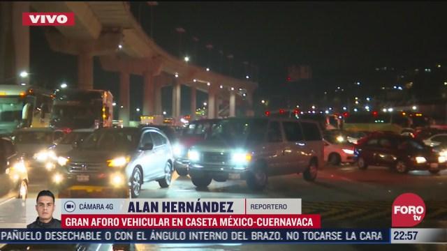 FOTO: 2 de agosto 2020,, continua intensa afluencia en caseta mexico cuernavaca