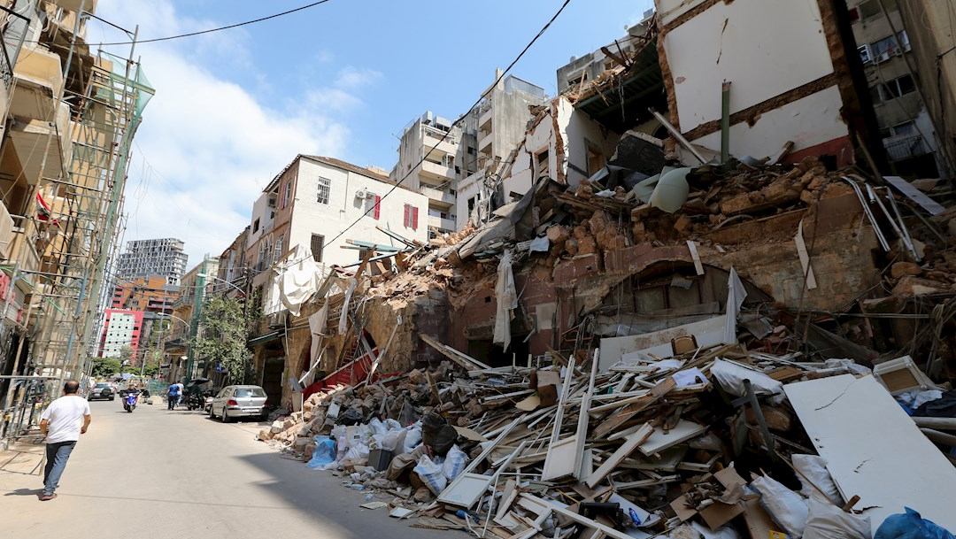 Edificios dañados por las explosiones que afectaron el puerto de Beirut, en Líbano