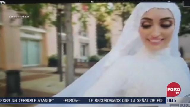 Explosión en Beirut sorprende a novia en sesión de fotos