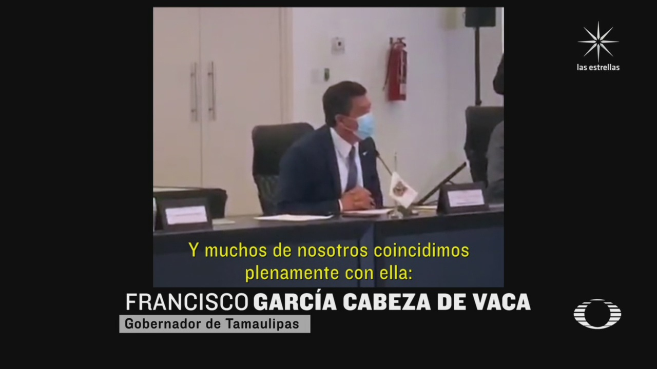El gobernador de Tamaulipas, Francisco Javier García Cabeza de Vaca, reclamó a la secretaria de Gobernación, Olga Sánchez Cordero