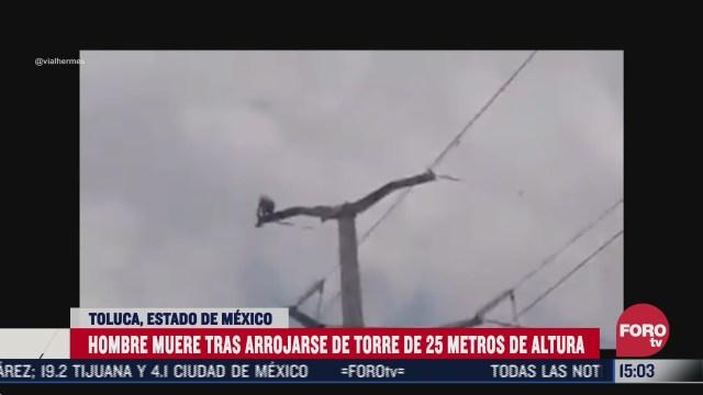 hombre se suicida arrojandose de una torre de luz