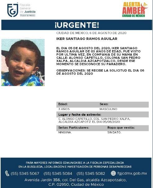 Activan Alerta Amber para localizar a Activan Alerta Amber para localizar a Iker Santiago Ramos Aguilar