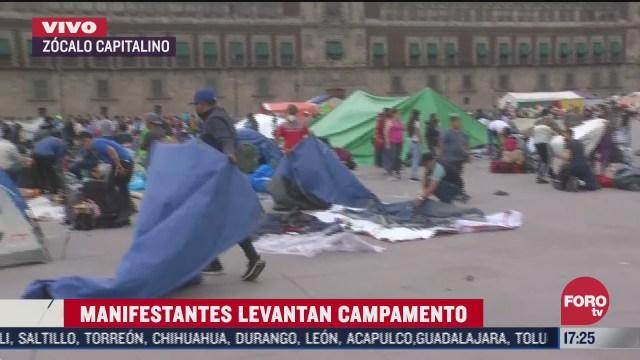 manifestantes levantan campamento del zocalo capitalino